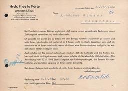 A4725 - Alte Rechnung Werbung - Arnstadt - Hrch. F. De La Porte - 1960 - Deutschland