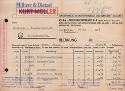 A6305 - Alte Rechnung Werbung - Gera - Militzer & Dietzel - Kraftfahrzeug - 1951 - Deutschland
