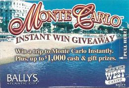 Bally's Wild Wild West Casino - Atlantic City, NJ - Monte Carlo Instant Win Giveaway Card - Casino Cards