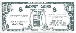 Jackpot Casino - Las Vegas, NV - $1 Free Play Bill (printed On Thin Tissue Paper) - Publicidad