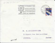 SEINE 75 - PARIS 37 -  FLAMME N° 1380- VOIR DESCRIPTION  - 1964 -   SALON COMPOSANTS ELECT. - Storia Postale