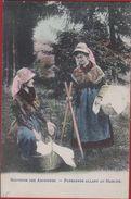 Souvenir Des Ardennes: Paysannes Allant Au Marché édition Marcovici Carte Colorisé Ingekleurd Folklore - Kostums