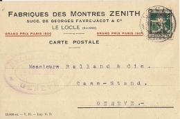 15391.....CARTE POSTALE PRIVEE, Fabrique De Montres ZENITH - NE Neuchâtel
