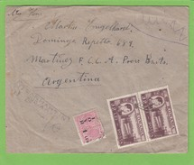 LETTRE RECO. POUR L'ARGENTINE AVEC E. A. UN TIMBRE FISCAL. - Covers & Documents