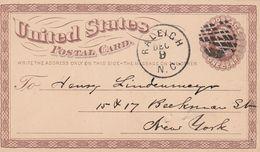 Etats Unis Entier Postal Illustré Privé Raleigh 1875 - ...-1900