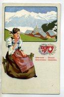 SUISSE UNTERWALD UNTERWALDEN Jeune Femme Maisons Petit Village Montagne 1910  /D06-2016 - OW Obwalden