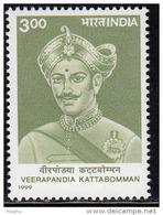 India MNH 1999, Veerapandia Kattabomman, Royal, Matryrs,  Archery, Tiger On Costume - India