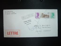 LETTRE TP BAUX DE PROVENCE 3,00 + LIBERTE 0,50 + 0,20 OBL.MEC.6-7-1987 RUEIL MALMAISON PPAL 92) RETOUR VERDUN (55 MEUSE) - Marcophilie (Lettres)