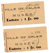 Ticket Entrée Calais Musée 1937 - Biglietti D'ingresso