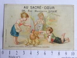 (59) Nord - Chromo, Carte Commerciale - Au Sacré Coeur, Mercerie A. Pouhin - LILLE - 28 Rue Masséna - Enfants Poussins - Autres