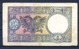 305-Italie, Albanie Billet De 5 Franchi 1939 S25 - [ 3] Military Issues