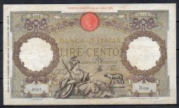 551-Italie Billet De 100 Lire 1940 M622 - [ 1] …-1946 : Royaume