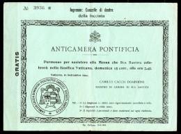 Vatican Billet D'entrée Anticamera Pontifica 1929 - Vaticano (Ciudad Del)