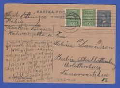Polen Ganzsache Mit Zufrankatur 1931 Gelaufen Von Krakau Nach Berlin - Polen
