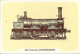 Locomotiva A Vapore Sampierdarena, Anno 1854 - Società Nazionale Di Mutuo Soccorso Fra Ferrovieri - Treni