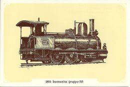 Locomotiva A Vapore Gruppo 315, Anno 1864 - Società Nazionale Di Mutuo Soccorso Fra Ferrovieri - Treni