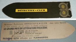 Rare Ancien Marque-pages En Carton, Années 1950's, Détective-Club, Romans Policiers, Page - Bookmarks