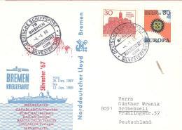 R  Bund   Brief  Mit SST   Deutsche Schiffspost Silvesterfahrt 4.1.1968  Bremen Kreuzfahrt - Marittimi