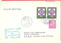 R  Bund  Luftpost Brief  Mit SST   Eröffnungsflug  Köln-Frankfurt-Wien  22.8.59 - Aerei