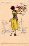 ART NOUVEAU / ART DÉCO - MAUZAN : SUPERBE JEUNE FEMME Avec FLEURS De MONTAGNE - SEXY ! ~ 1920 - '24 (w-686) - Mauzan, L.A.
