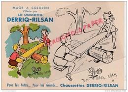 62 - RILSAN - BALANCOIRE  ENFANT- RARE IMAGE ASPECT BUVARD A COLORIER DES CHAUSSETTES DERRIQ-RILSAN - - Vieux Papiers