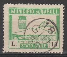 Napoli. Marca Municipale Stato Civile L. 10, In Verde - Otros