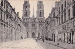 France Orleans La Rue Jeanne d'Arc et la Cathedrale
