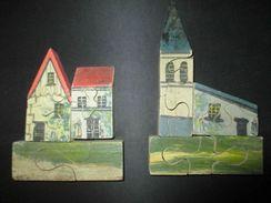 Ancien Original Jouet Jeux Puzzle En Bois Peint Fin XIX ème - Jouets Anciens