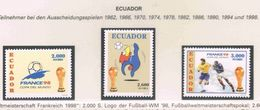 Soccer Football Ecuador #2383/5 1998 World Cup France MNH ** - World Cup