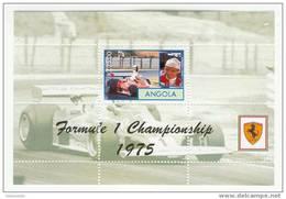 Angola - Foglietto Nuovo Dedicato Ai Campioni Di F1 Su Ferrari - Niki Lauda 1975 - Automobile