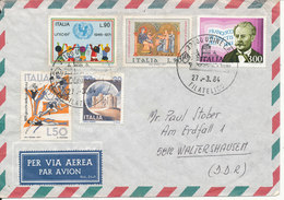 Italy Air Mail Cover Sent To Germany DDR 27-3-1984 Topic Stamps - 1946-.. Republiek