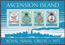 Ascension 1971 Yvertn° Bloc 3 *** MNH Cote 18,50 Euro Royal Navy Crests Faune Oiseaux - Ascension (Ile De L')