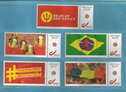 DUOSTAMP BELGIUM 5 ST.- A23  ** MNH   RODE DUIVELS // BELGIAN RED DEVILS // LOOK / ZIE SCAN  ** SUPER SALE**  . - Private Stamps