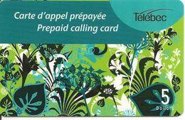 -CARTE-PREPAYEE-MAGNETIQUE-CANADA-5$-TELEBEC-T BE - Canada