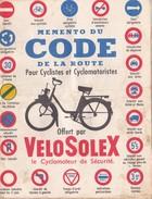 Memento Du Code De La Route Offert Par Velosolex - Reclame