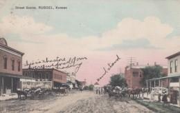 Russell Kansas, Dirt Main Street Scene Wagons C1900s Vintage Postcard - United States
