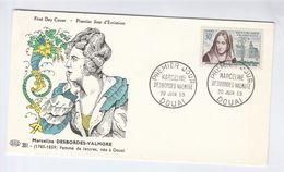 1959 Douai FRANCE FDC DESBORDES VALMORE  Stamps Cover - FDC