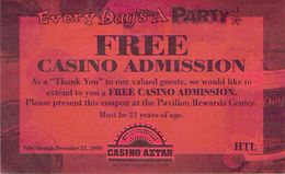 Casino Aztar - Evansville, IN -  Free Casino Admission Coupon - Advertising