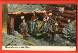 NEA-04  Tunnel Entrance At Coal Mine. Entrée Du Tunnel Dans La Mine De Charbon. Attelage Et Mineurs.Non Circ. - Mines