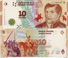 ARGENTINA    10 Pesos    P-New    ND (2016)    UNC  [sign. Vanoli - Domínguez] - Argentine