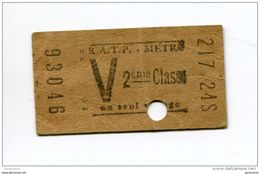 """Ticket De Métro 1958  Tarif V - 2ème Classe """"Métropolitain - Paris"""" Chemin De Fer - Métro"""