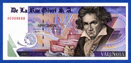 De La Rue Giori S.A. Varinota Beethoven - Red Serial Number - Specimen Test Note Unc - Specimen