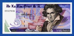 De La Rue Giori S.A. Varinota Beethoven - Black Serial Number - Specimen Test Note Unc - Specimen