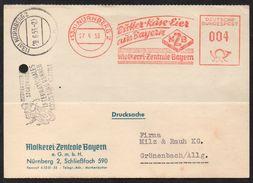 ALLEMAGNE - NÜRNBERG - OEUFS - BEURRE - FROMAGE / 1953 EMA ILLUSTREE SUR ENVELOPPE COMMERCIALE (ref 3572) - Marcophilie - EMA (Empreintes Machines)
