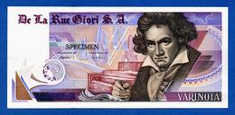 De La Rue Giori S.A. Varinota Beethoven - Louisenthal Bronze Type - Specimen Test Note Unc- - Specimen
