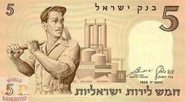 ISRAEL 5 LIROT 1958 PICK 31a UNC - Israel