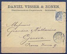 1899 , HOLANDA , SOBRE CIRCULADO ENTRE SCHIEDAM Y GÉNOVA , LLEGADA AL DORSO , YV. 38 , 12 1/2 CENT. - Periode 1891-1948 (Wilhelmina)