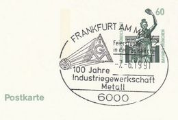 1996 GERMANY Cover METAL INDUSTRY TRADE UNION EVENT Pmk  Postal Stationery Card Stamps Minerals - Minéraux