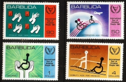 Barbuda 1981, 4 Values MNH -Year Of Disabled People - Wheel Chair, Sign Language - Handicaps