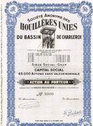 Action Ancienne - Sté Des Houillères Unies Du Bassin De Charleroi - Titre De 1946 - Mines